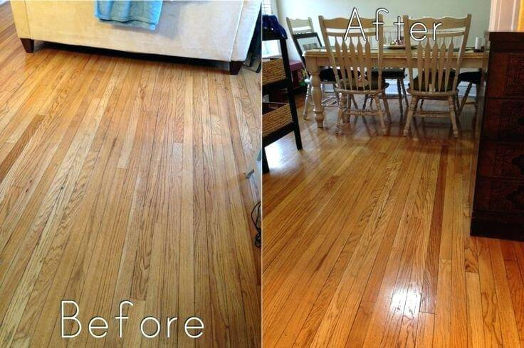 hardwood floor cleaning before after